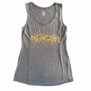 Mossimo Heather Gray Gold Sequin Tank Top Size M